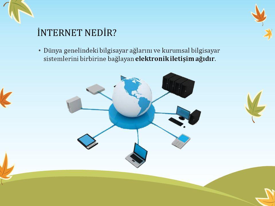 • Dünya genelindeki bilgisayar ağlarını ve kurumsal bilgisayar sistemlerini birbirine bağlayan elektronik iletişim ağıdır.