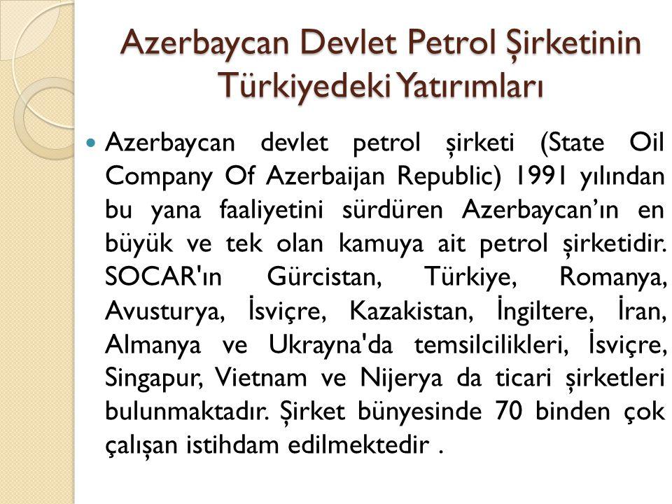 Azerbaycan Devlet Petrol Şirketinin Türkiyedeki Yatırımları  Azerbaycan devlet petrol şirketi (State Oil Company Of Azerbaijan Republic) 1991 yılında
