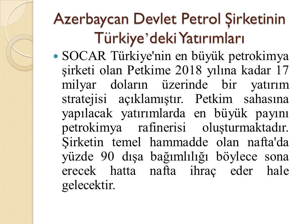 Azerbaycan Devlet Petrol Şirketinin Türkiye ' deki Yatırımları  SOCAR Türkiye'nin en büyük petrokimya şirketi olan Petkime 2018 yılına kadar 17 milya