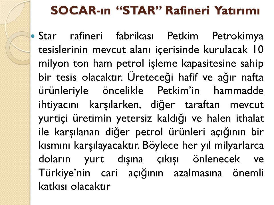 """SOCAR-ın """"STAR"""" Rafineri Yatırımı  Star rafineri fabrikası Petkim Petrokimya tesislerinin mevcut alanı içerisinde kurulacak 10 milyon ton ham petrol"""