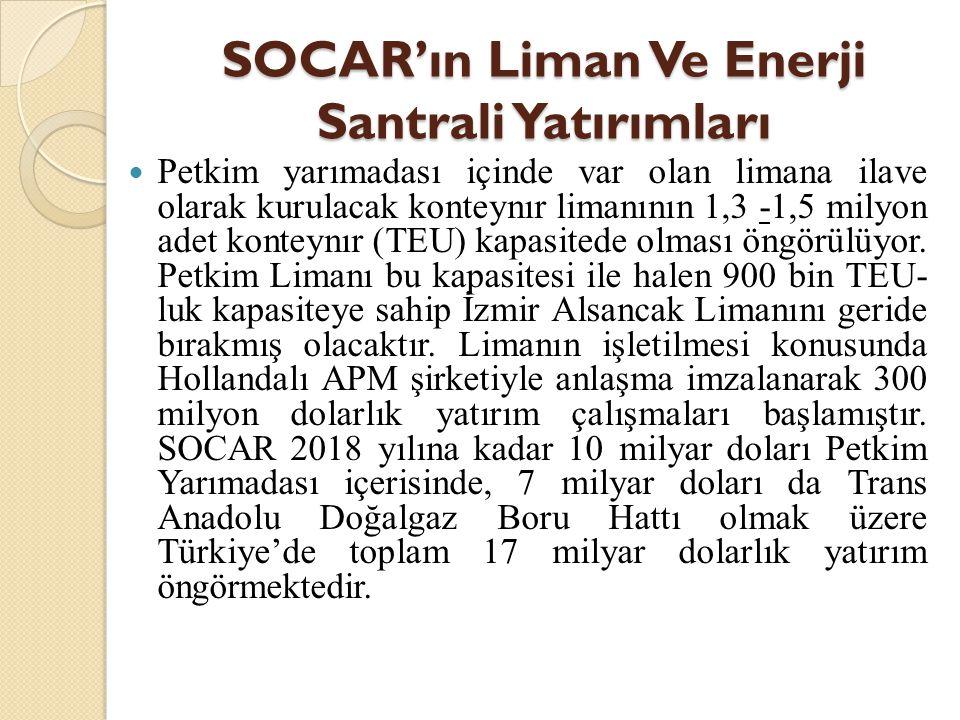 SOCAR'ın Liman Ve Enerji Santrali Yatırımları  Petkim yarımadası içinde var olan limana ilave olarak kurulacak konteynır limanının 1,3 -1,5 milyon ad