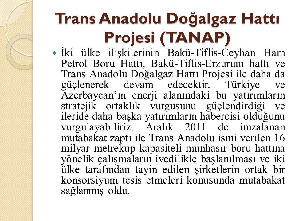 Trans Anadolu Do ğ algaz Hattı Projesi (TANAP)  İki ülke ilişkilerinin Bakü-Tiflis-Ceyhan Ham Petrol Boru Hattı, Bakü-Tiflis-Erzurum hattı ve Trans A