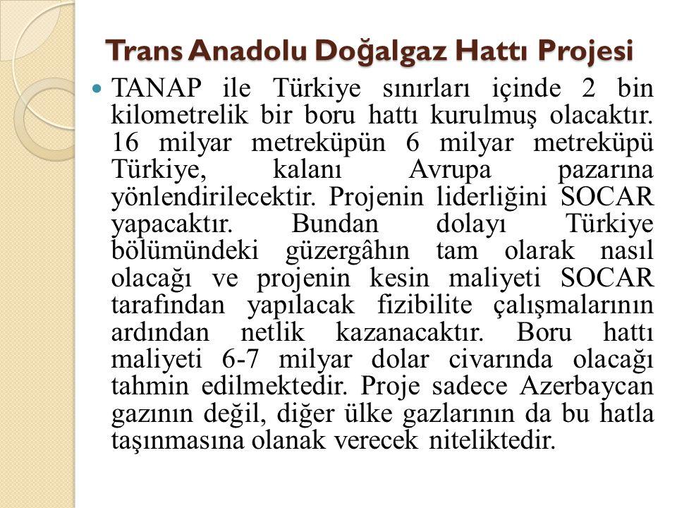 Trans Anadolu Do ğ algaz Hattı Projesi  TANAP ile Türkiye sınırları içinde 2 bin kilometrelik bir boru hattı kurulmuş olacaktır. 16 milyar metreküpün
