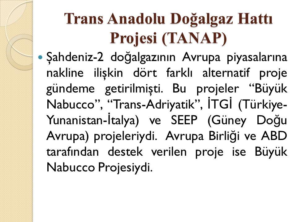 Trans Anadolu Doğalgaz Hattı Projesi (TANAP)  Şahdeniz-2 do ğ algazının Avrupa piyasalarına nakline ilişkin dört farklı alternatif proje gündeme geti