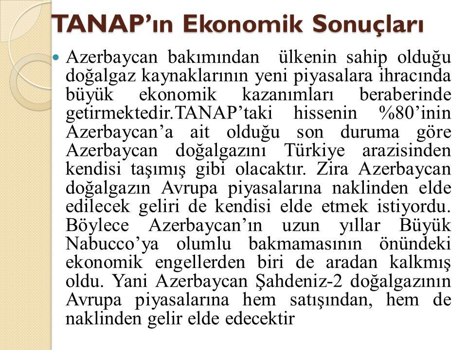 TANAP'ın Ekonomik Sonuçları  Azerbaycan bakımından ülkenin sahip olduğu doğalgaz kaynaklarının yeni piyasalara ihracında büyük ekonomik kazanımları b