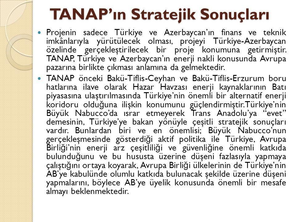 TANAP'ın Stratejik Sonuçları  Projenin sadece Türkiye ve Azerbaycan'ın finans ve teknik imkânlarıyla yürütülecek olması, projeyi Türkiye-Azerbaycan ö