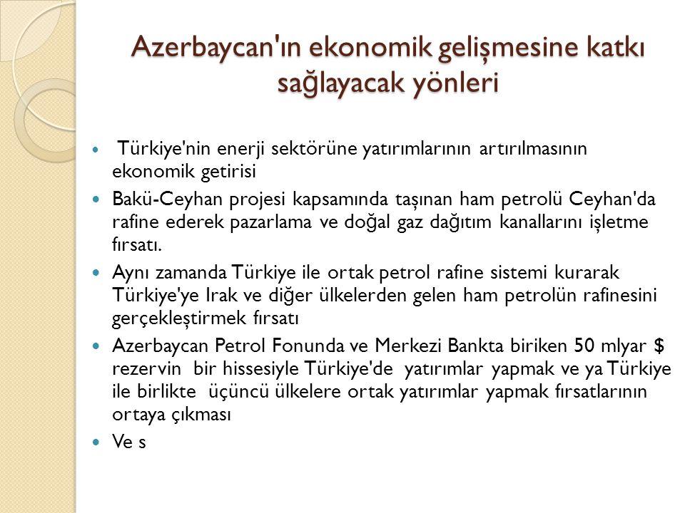 Azerbaycan'ın ekonomik gelişmesine katkı sa ğ layacak yönleri  Türkiye'nin enerji sektörüne yatırımlarının artırılmasının ekonomik getirisi  Bakü-Ce
