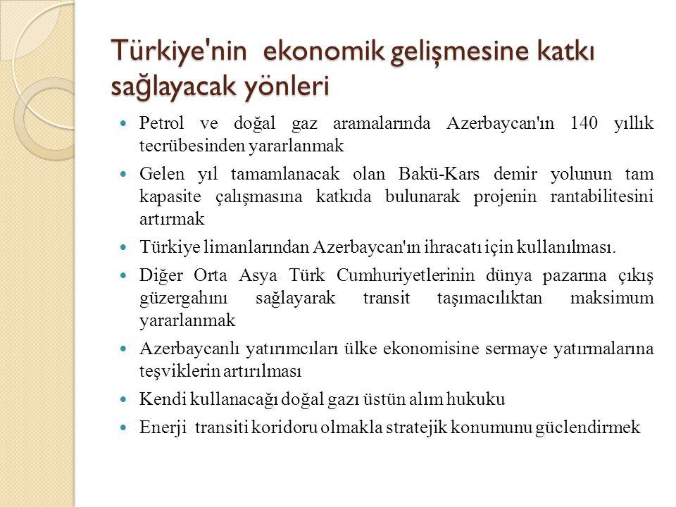 Türkiye'nin ekonomik gelişmesine katkı sa ğ layacak yönleri  Petrol ve doğal gaz aramalarında Azerbaycan'ın 140 yıllık tecrübesinden yararlanmak  Ge