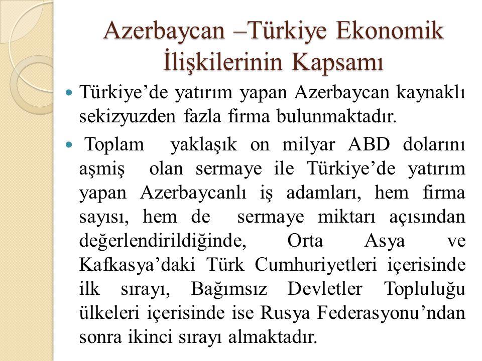 Azerbaycan –Türkiye Ekonomik İlişkilerinin Kapsamı  Türkiye'de yatırım yapan Azerbaycan kaynaklı sekizyuzden fazla firma bulunmaktadır.  Toplam yakl