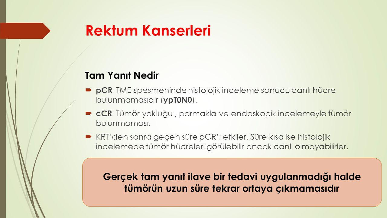 Rektum Kanserleri Tam Yanıt Nedir  pCR TME spesmeninde histolojik inceleme sonucu canlı hücre bulunmamasıdır ( ypT0N0 ).  cCR Tümör yokluğu, parmakl
