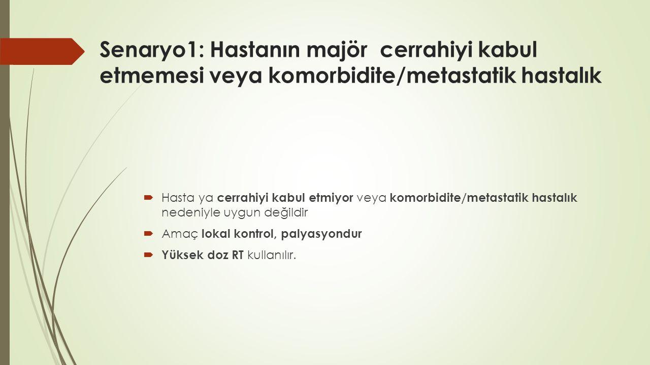 Senaryo1: Hastanın majör cerrahiyi kabul etmemesi veya komorbidite/metastatik hastalık  Hasta ya cerrahiyi kabul etmiyor veya komorbidite/metastatik hastalık nedeniyle uygun değildir  Amaç lokal kontrol, palyasyondur  Yüksek doz RT kullanılır.