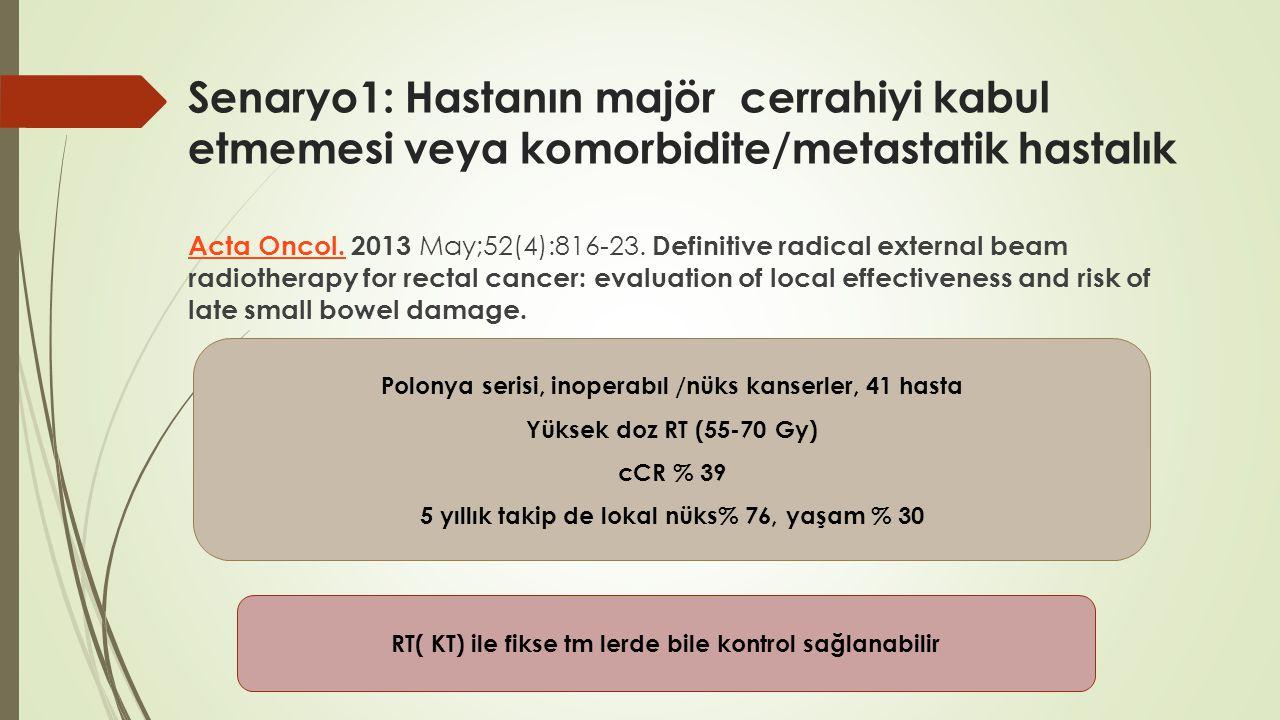 Senaryo1: Hastanın majör cerrahiyi kabul etmemesi veya komorbidite/metastatik hastalık Acta Oncol.Acta Oncol. 2013 May;52(4):816-23. Definitive radica