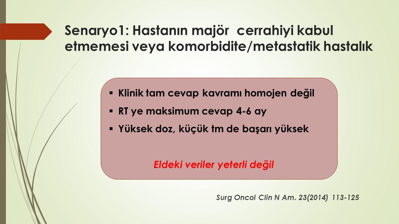 Senaryo1: Hastanın majör cerrahiyi kabul etmemesi veya komorbidite/metastatik hastalık Surg Oncol Clin N Am. 23(2014) 113-125  Klinik tam cevap kavra