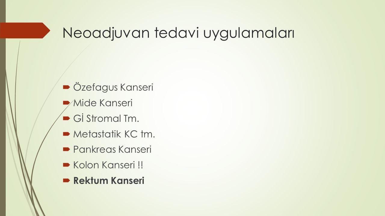 Neoadjuvan tedavi uygulamaları  Özefagus Kanseri  Mide Kanseri  Gİ Stromal Tm.