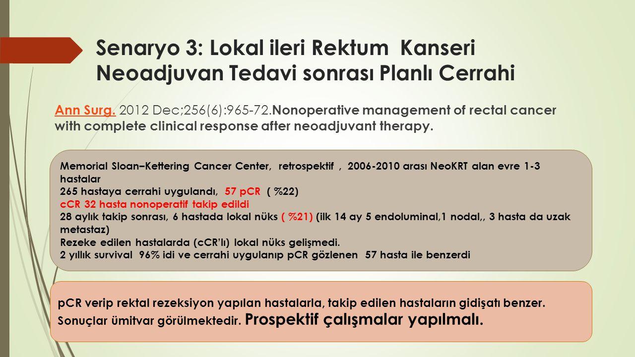 Senaryo 3: Lokal ileri Rektum Kanseri Neoadjuvan Tedavi sonrası Planlı Cerrahi Ann Surg. Ann Surg. 2012 Dec;256(6):965-72. Nonoperative management of