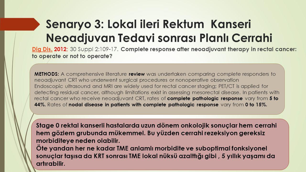 Senaryo 3: Lokal ileri Rektum Kanseri Neoadjuvan Tedavi sonrası Planlı Cerrahi Dig Dis.Dig Dis. 2012 ; 30 Suppl 2:109-17. Complete response after neoa