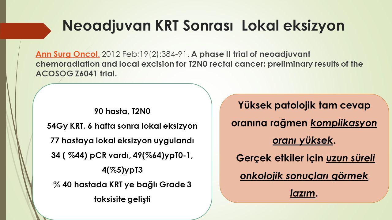 Neoadjuvan KRT Sonrası Lokal eksizyon Ann Surg Oncol.Ann Surg Oncol. 2012 Feb;19(2):384-91. A phase II trial of neoadjuvant chemoradiation and local e