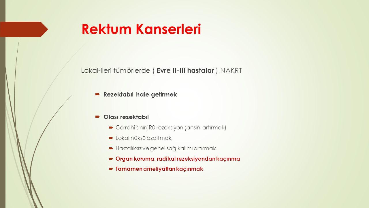 Rektum Kanserleri Lokal-ileri tümörlerde ( Evre II-III hastalar ) NAKRT  Rezektabıl hale getirmek  Olası rezektabıl  Cerrahi sınır( R0 rezeksiyon şansını artırmak)  Lokal nüksü azaltmak  Hastalıksız ve genel sağ kalımı artırmak  Organ koruma, radikal rezeksiyondan kaçınma  Tamamen ameliyattan kaçınmak