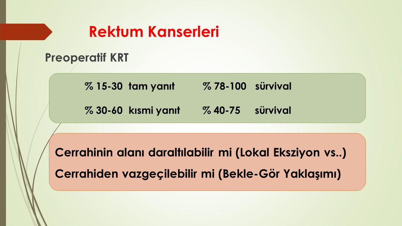 Rektum Kanserleri Preoperatif KRT % 15-30 tam yanıt % 78-100 sürvival % 30-60 kısmi yanıt % 40-75 sürvival Cerrahinin alanı daraltılabilir mi (Lokal E