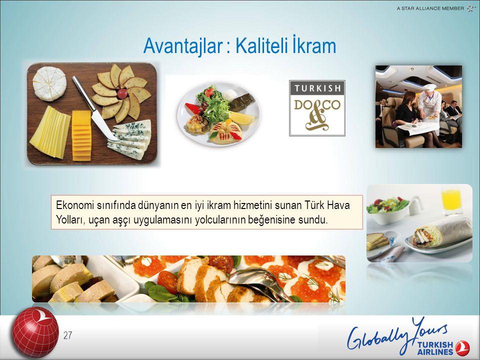 Avantajlar : Kaliteli İkram 27 Ekonomi sınıfında dünyanın en iyi ikram hizmetini sunan Türk Hava Yolları, uçan aşçı uygulamasını yolcularının beğenisine sundu.