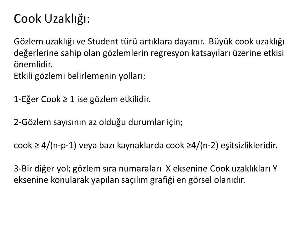 Cook Uzaklığı: Gözlem uzaklığı ve Student türü artıklara dayanır. Büyük cook uzaklığı değerlerine sahip olan gözlemlerin regresyon katsayıları üzerine