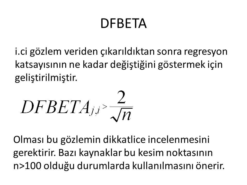 DFBETA i.ci gözlem veriden çıkarıldıktan sonra regresyon katsayısının ne kadar değiştiğini göstermek için geliştirilmiştir. Olması bu gözlemin dikkatl