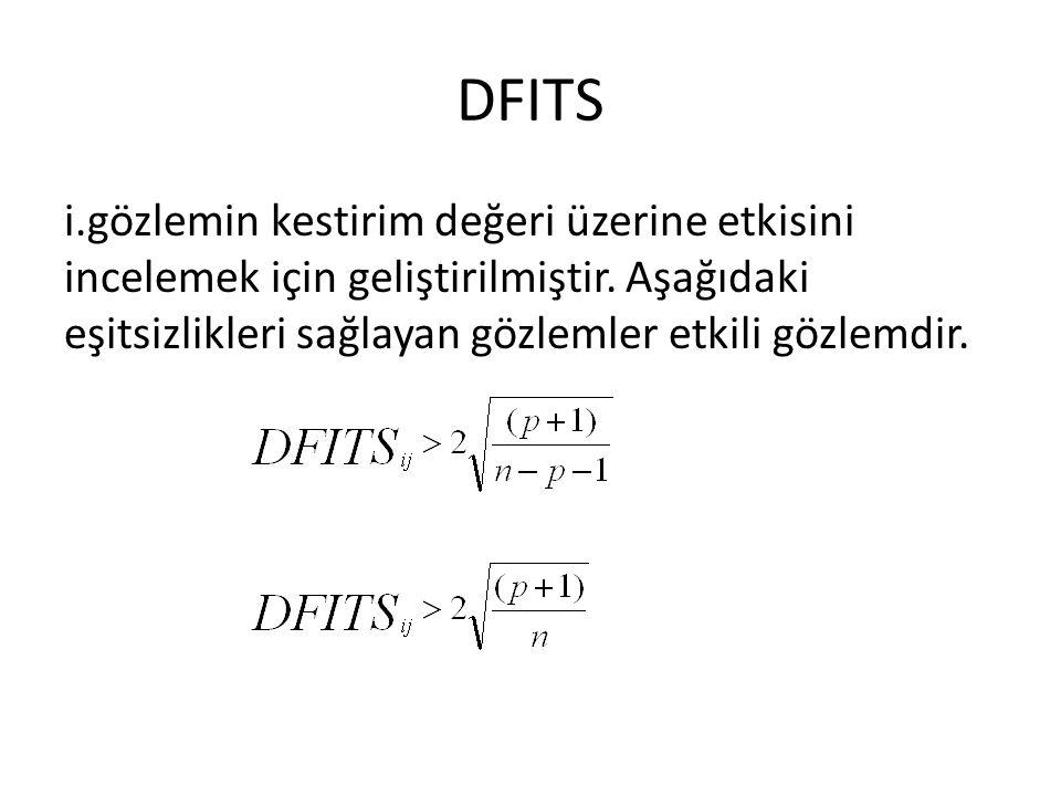 DFITS i.gözlemin kestirim değeri üzerine etkisini incelemek için geliştirilmiştir. Aşağıdaki eşitsizlikleri sağlayan gözlemler etkili gözlemdir.