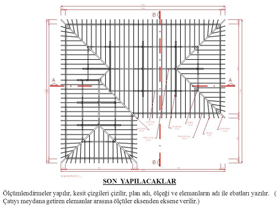 SON YAPILACAKLAR Ölçümlendirmeler yapılır, kesit çizgileri çizilir, plan adı, ölçeği ve elemanların adı ile ebatları yazılır. ( Çatıyı meydana getiren