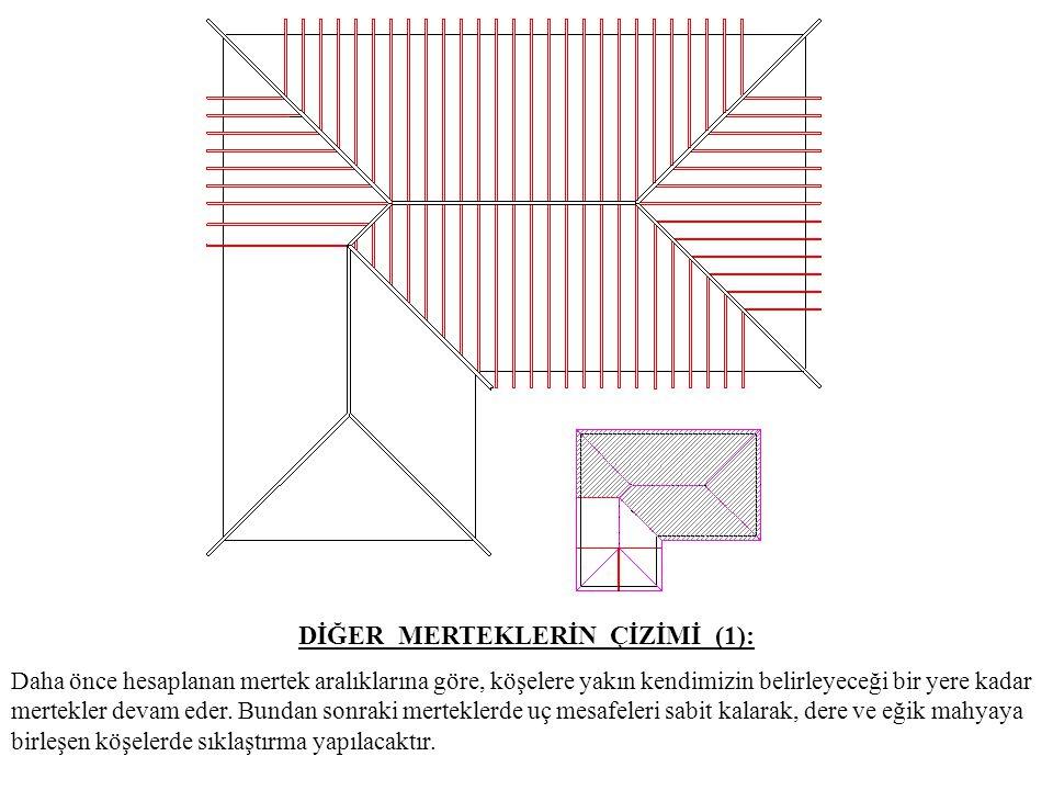 DİĞER MERTEKLERİN ÇİZİMİ (2): Çatının diğer kısmı içinde hesaplanan mertek aralıklarına göre mertekler yerleştirilir.