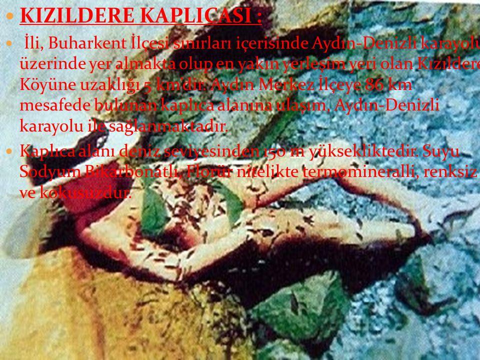  KIZILDERE KAPLICASI :  İli, Buharkent İlçesi sınırları içerisinde Aydın-Denizli karayolu üzerinde yer almakta olup en yakın yerleşim yeri olan Kızıldere Köyüne uzaklığı 5 km'dir.