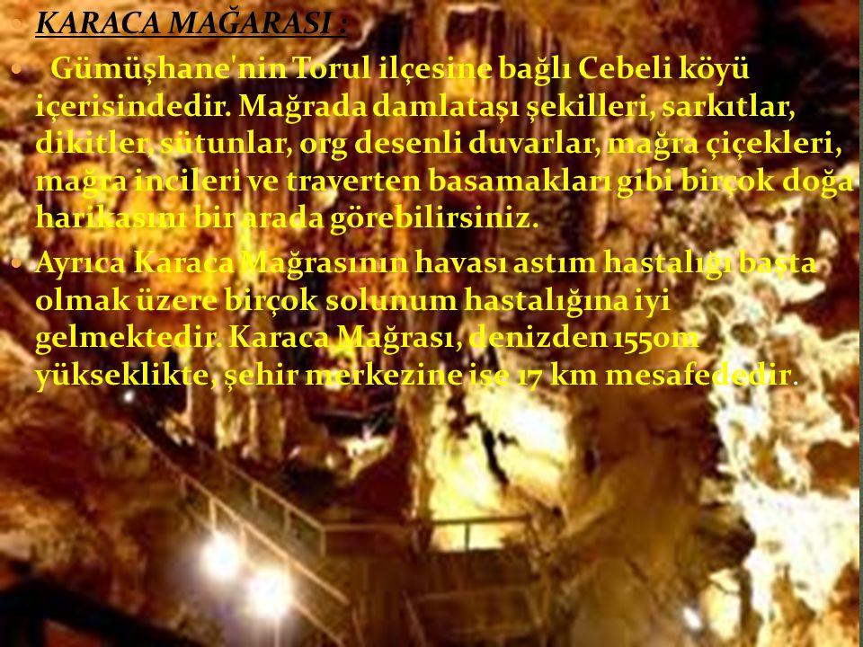  KARACA MAĞARASI :  Gümüşhane nin Torul ilçesine bağlı Cebeli köyü içerisindedir.