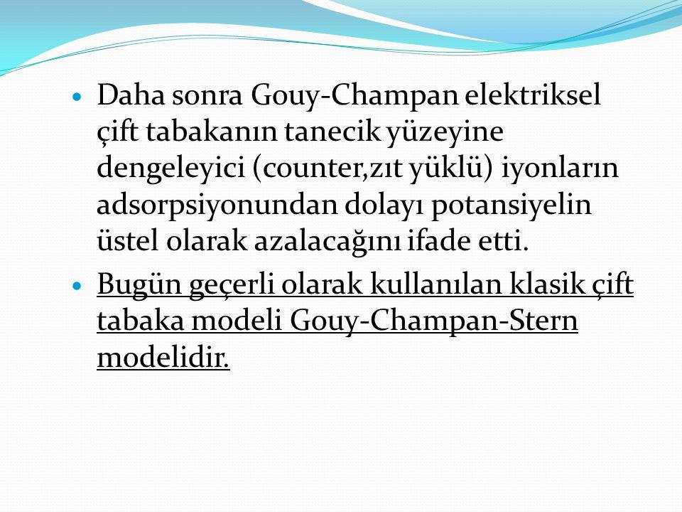 Daha sonra Gouy-Champan elektriksel çift tabakanın tanecik yüzeyine dengeleyici (counter,zıt yüklü) iyonların adsorpsiyonundan dolayı potansiyelin ü