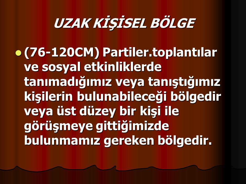 SOSYAL BÖLGE  (121-300 CM) Yabancıların örneğin evimizde tamirat yapan tesisatçının,iş yerindeki yeni elemanın bulunabileceği bölgedir.