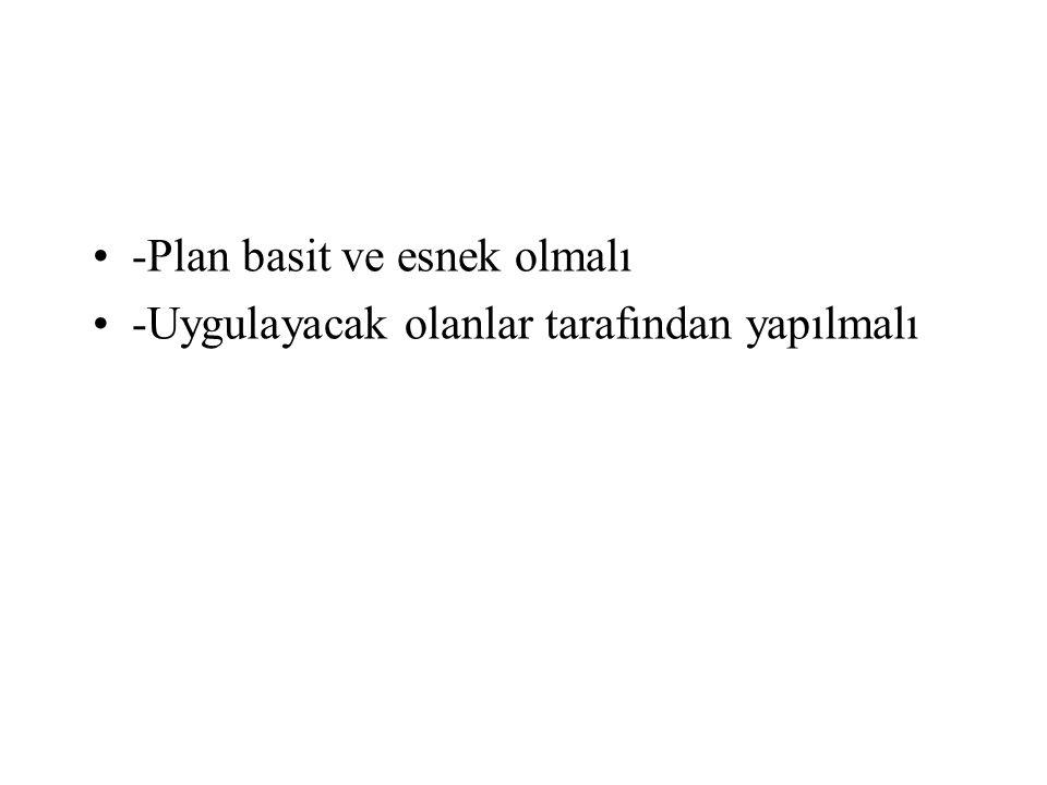 •-Plan basit ve esnek olmalı •-Uygulayacak olanlar tarafından yapılmalı