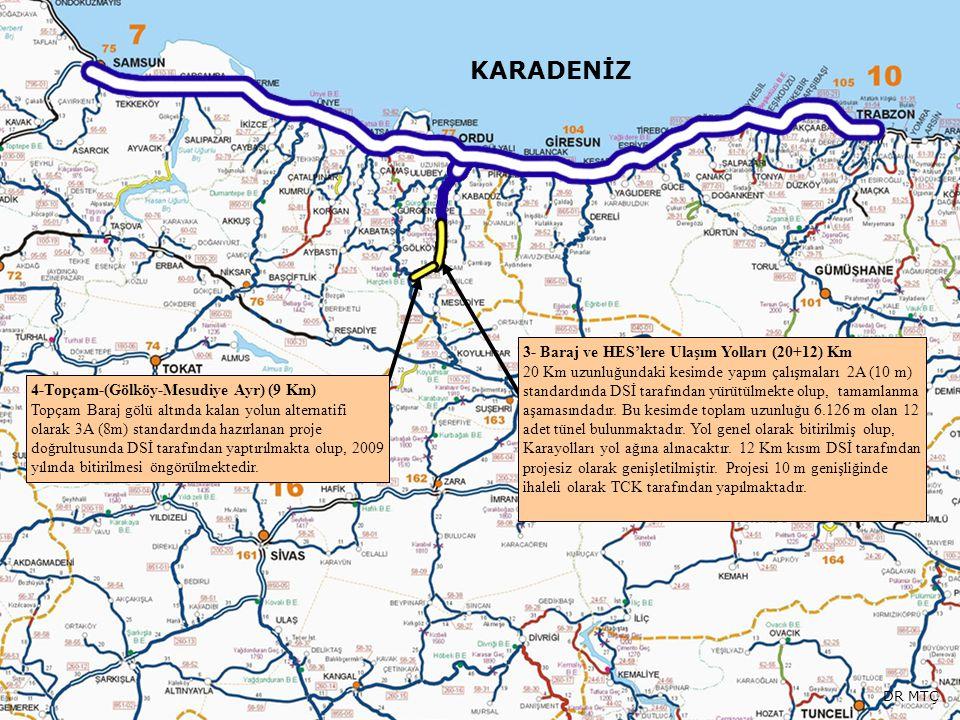 KARADENİZ 3- Baraj ve HES'lere Ulaşım Yolları (20+12) Km 20 Km uzunluğundaki kesimde yapım çalışmaları 2A (10 m) standardında DSİ tarafından yürütülme