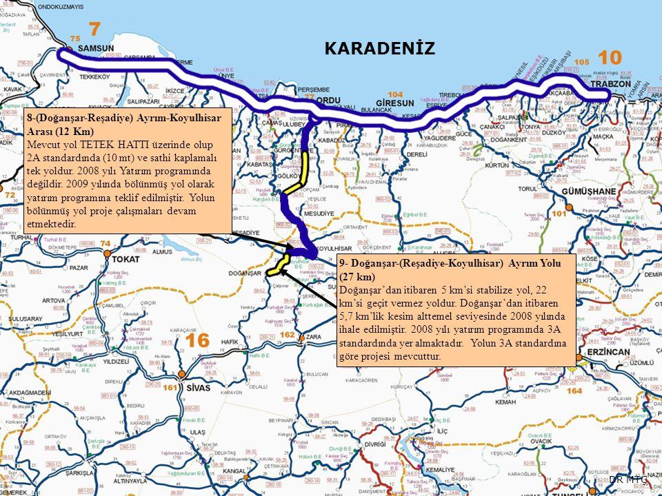 KARADENİZ 8-(Doğanşar-Reşadiye) Ayrım-Koyulhisar Arası (12 Km) Mevcut yol TETEK HATTI üzerinde olup 2A standardında (10 mt) ve sathi kaplamalı tek yol