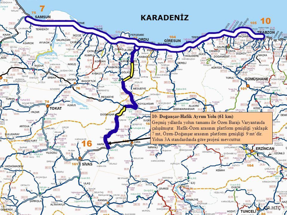 KARADENİZ 10- Doğanşar-Hafik Ayrım Yolu (61 km) Geçmiş yıllarda yolun tamamı ile Özen Barajı Varyantında çalışılmıştır. Hafik-Özen arasının platform g