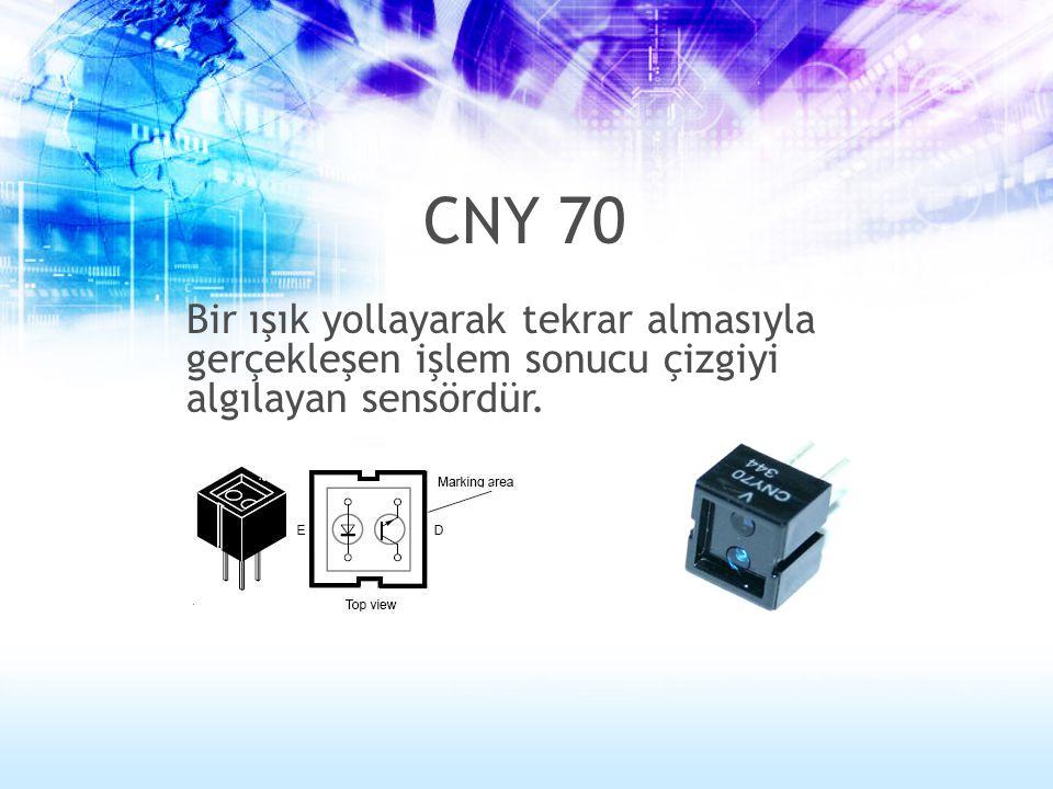 Bir ışık yollayarak tekrar almasıyla gerçekleşen işlem sonucu çizgiyi algılayan sensördür. CNY 70