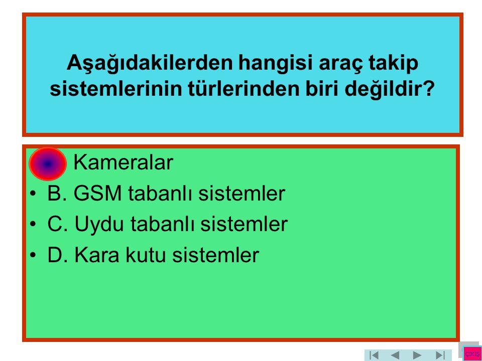 Aşağıdakilerden hangisi araç takip sistemlerinin türlerinden biri değildir? •A. Kameralar •B. GSM tabanlı sistemler •C. Uydu tabanlı sistemler •D. Kar