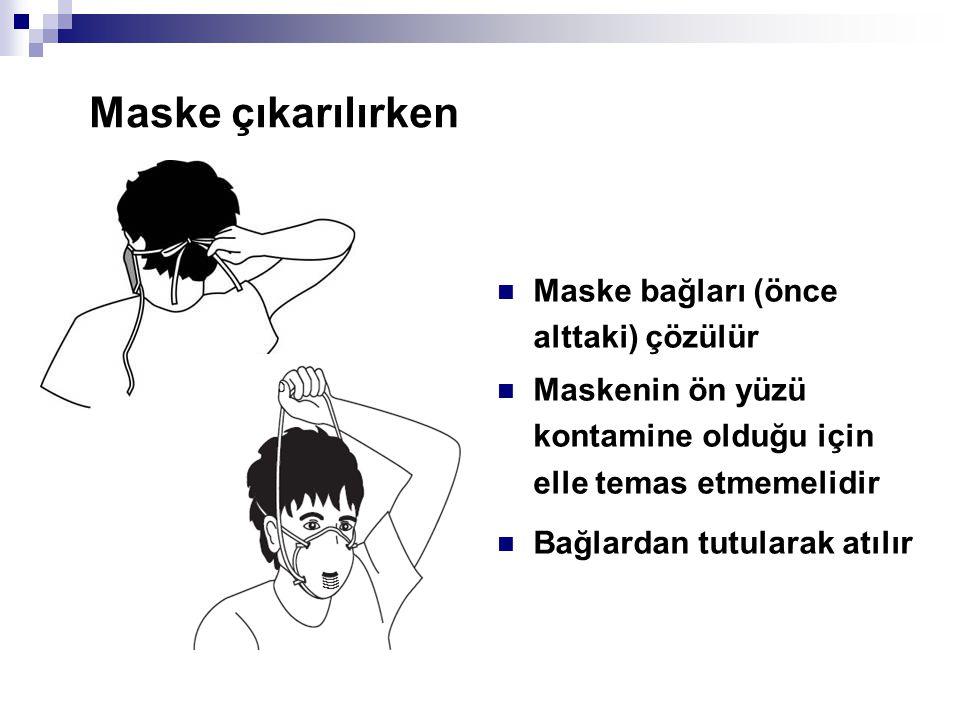 Maske çıkarılırken  Maske bağları (önce alttaki) çözülür  Maskenin ön yüzü kontamine olduğu için elle temas etmemelidir  Bağlardan tutularak atılır