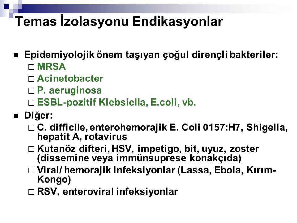 Temas İzolasyonu Endikasyonlar  Epidemiyolojik önem taşıyan çoğul dirençli bakteriler:  MRSA  Acinetobacter  P. aeruginosa  ESBL-pozitif Klebsiel