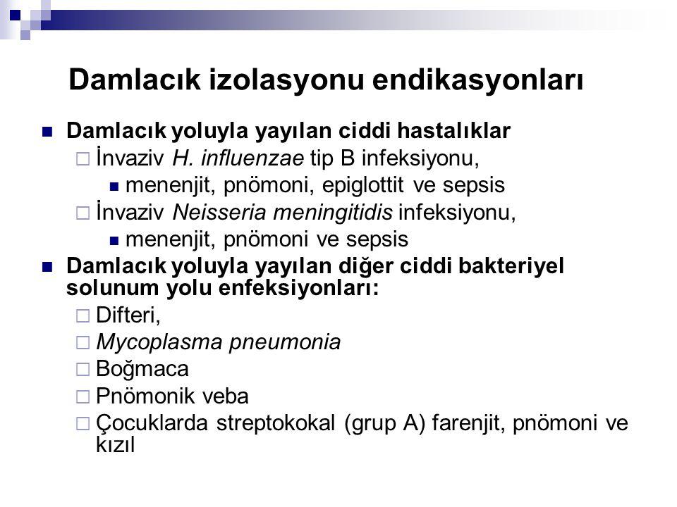 Damlacık izolasyonu endikasyonları  Damlacık yoluyla yayılan ciddi hastalıklar  İnvaziv H. influenzae tip B infeksiyonu,  menenjit, pnömoni, epiglo