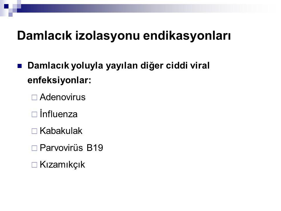 Damlacık izolasyonu endikasyonları  Damlacık yoluyla yayılan diğer ciddi viral enfeksiyonlar:  Adenovirus  İnfluenza  Kabakulak  Parvovirüs B19 
