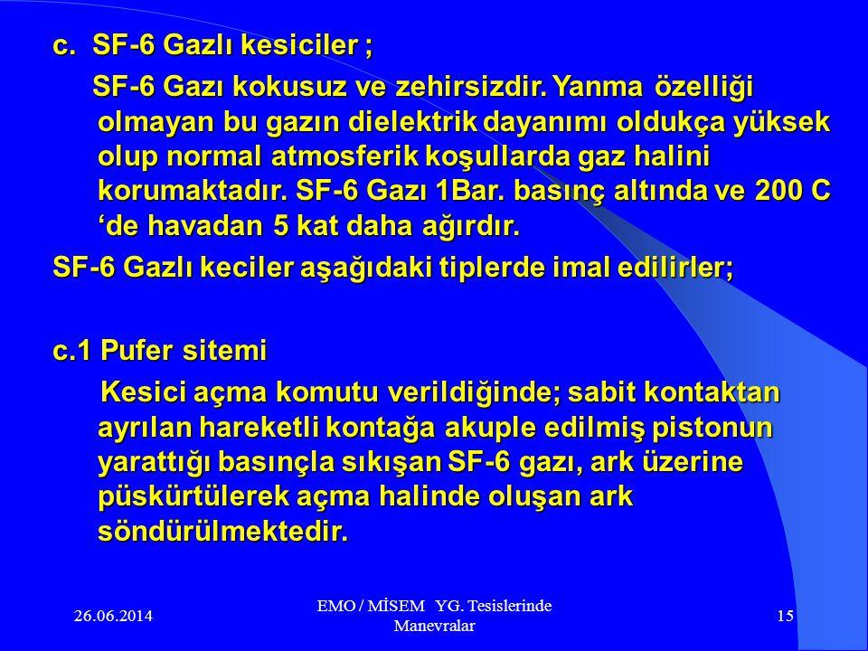 26.06.2014 EMO / MİSEM YG. Tesislerinde Manevralar 14 Az yağlı kesici