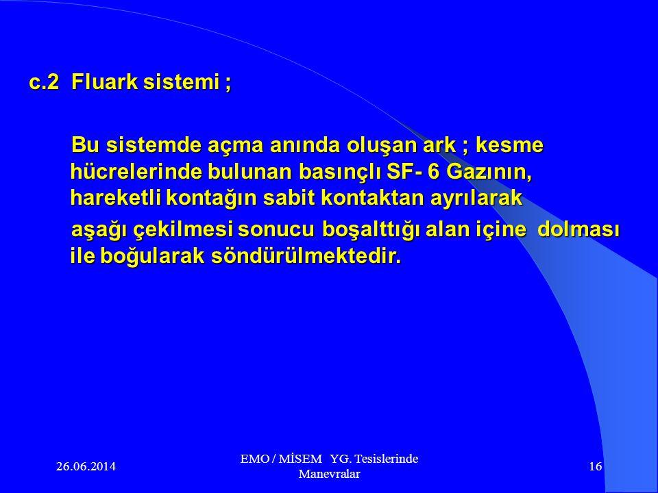 26.06.2014 EMO / MİSEM YG. Tesislerinde Manevralar 15 c. SF-6 Gazlı kesiciler ; SF-6 Gazı kokusuz ve zehirsizdir. Yanma özelliği olmayan bu gazın diel