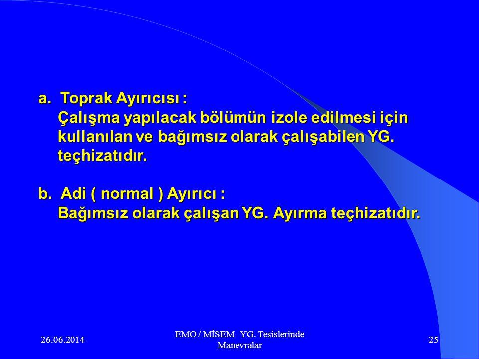 26.06.2014 EMO / MİSEM YG. Tesislerinde Manevralar 24 Ayırıcı ; YG. Tesislerinde yüksüz durumda elektrik devrelerini açmak veya tesise gerilim uygulam