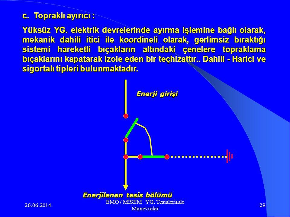 26.06.2014 EMO / MİSEM YG. Tesislerinde Manevralar 28 c. Topraklı ayırıcı : Yüksüz YG. elektrik devrelerinde ayırma işlemine bağlı olarak, mekanik dah