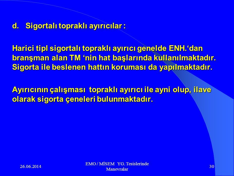 26.06.2014 EMO / MİSEM YG. Tesislerinde Manevralar 29 Enerjilenen tesis bölümü Enerji girişi c. Topraklı ayırıcı : Yüksüz YG. elektrik devrelerinde ay
