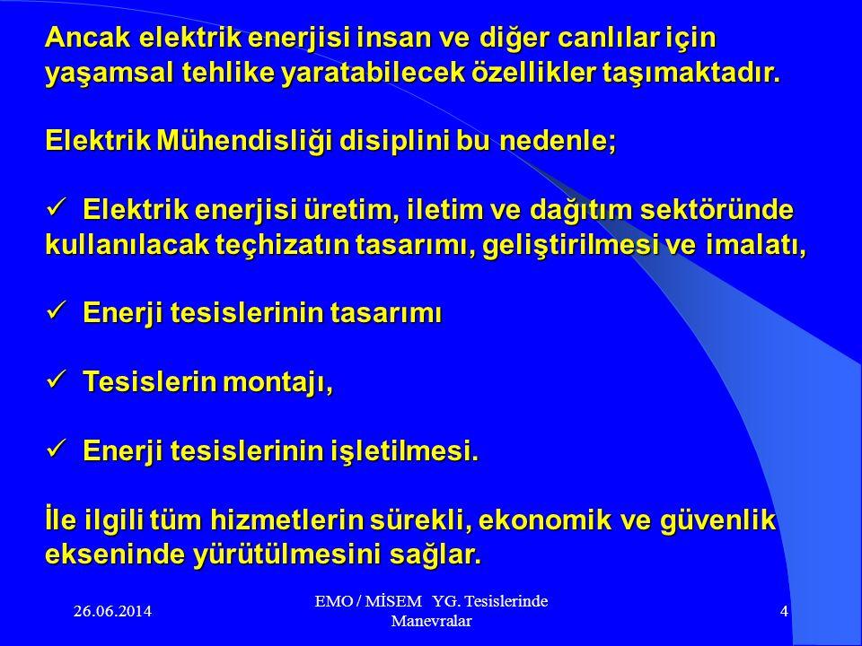26.06.2014 EMO / MİSEM YG. Tesislerinde Manevralar 3 Kuvvetli akım tesisleri : Enerji; toplumsal ya da bireysel yaşamın her aşamasında yararlandığımız