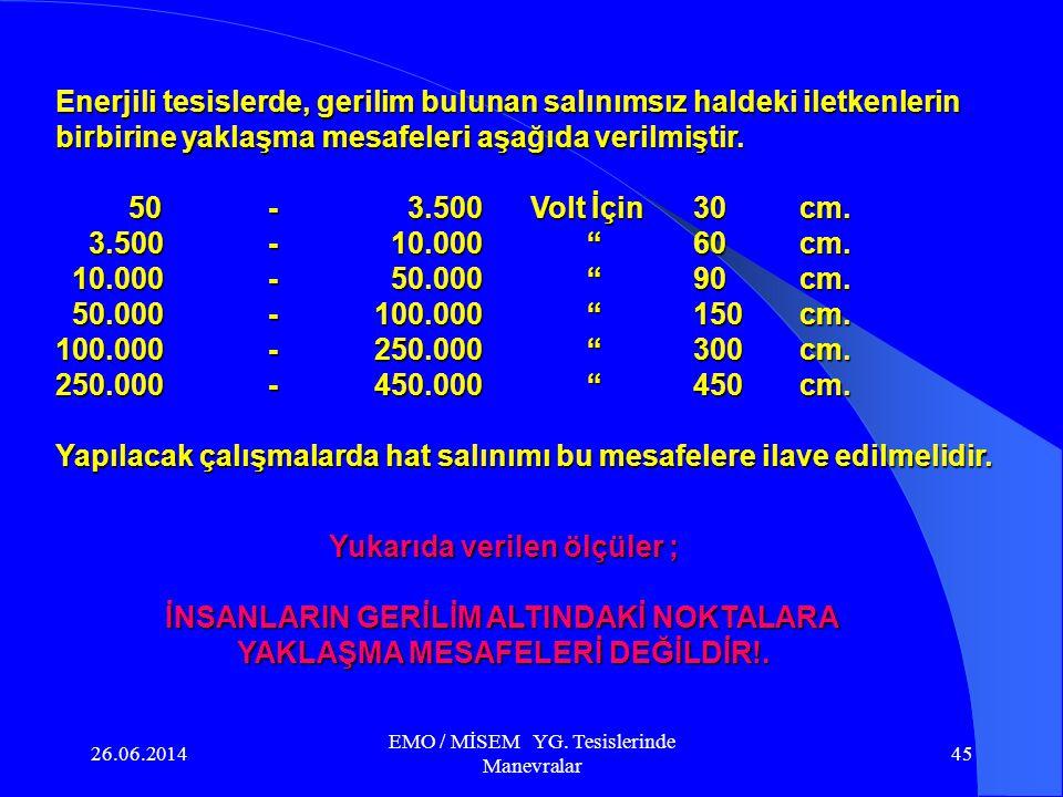 26.06.2014 EMO / MİSEM YG. Tesislerinde Manevralar 44 5.) EMNİYET MESAFELERİ